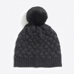J Crew Knit Hat Beanie Pom Pom